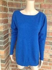 FORTE 100% Cashmere Sweater Size M Medium Crew Neck Long Sleeve Women Blue