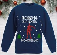 Boys CHRISTMAS JUMPER FLOSSING IN A WINTER WONDERLAND Sweatshirt outfit Gaming