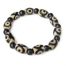 Long Stretchy Tibetan Black Agate 3-eye dZi Beads Beaded Amulet Bracelet
