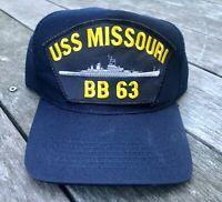 Vintage Northstar USS Missouri BB 63 Baseball Hat Cap Snapback Made In USA Blue