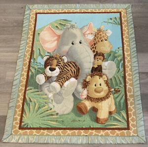 Printed Crib Quilt, Machine Quilted, Elephant, Giraffe, Lion, Tiger, Monkey