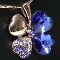Sparkling Heart Blue Sapphire Necklace Women Wedding Jewelry 14K Rose Gold