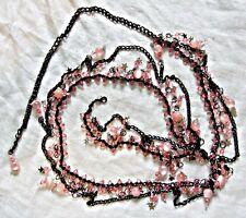 Exquisito Collar de Cinturón de Danza del Vientre Punk Goth Vapor De Metal Negro y Rosa granos