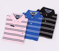 Tommy Hilfiger Men Stripe Pique Mesh Polo Shirt Custom Fit - Free $0 Shipping