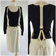 Ralph Lauren Collection Purple Label Skirt Suspenders Pinstripe Cream Blue Sz 8