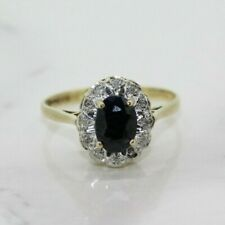 9ct Yellow Gold Sapphire and Diamond Cluster Ring (Size L, US 5 3/4)