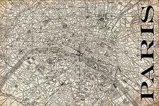 """Vintage Map of Paris 20"""" x 30:"""