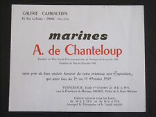 A. de CHANTELOUP  gal.Cambaceres Paris 1959 MARINES FÉCAMP PORT EN BESSIN YPORT