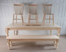 New 8ft 7ft 6ft 5ft Solid Pine Dining Table, Bench & Matching Nordic Chairs
