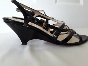 Genuine PRADA Italy SHOE Black Wedge Sling Back Patent Leather Vintage Sz 37.5