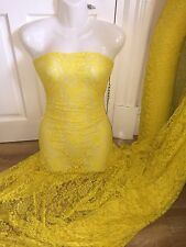 "1 M Giallo Brillante Lycra tessuto Stretch Lace... 60"" Wide"
