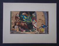 Gravure illustrateur LE RALLIC 2 cheval chien dog horse surprise