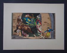 Gravure illustrateur LE RALLIC 2 cheval chien dog horse surprise