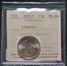 2005P CANADA ICCS GRADED 25 CENT - Alberta - Nice