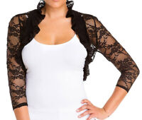 Fashion Secrets 3/4 Sleeve Lace Bolero Shrug Cropped Cardigan Smocked Jacket