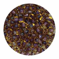 Japanese Glass Triangle Bead 8/0 Lined Amber Lavender Ab