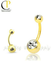 """Double Gem Gold Plated Surgical Steel Navel Belly Button Ring 14G 5/16"""" -1/2"""""""