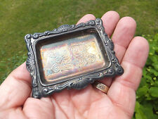 "Vintage Antique Italian Miniature Silver Plate Tray Made in Italy - 3"" X 2 1/4"""