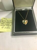 Vintage 1960s Heart Necklace Gold Filled 18 Inches 16mm Heart