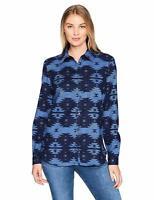 Dickies Women's Long Sleeve Pattern Shirt, French Blue/Deep Blue Print, XX-Large