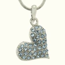 """Blue Heart Made With Swarovski Crystal Gift Love Pendant Necklace 18"""" Chain"""