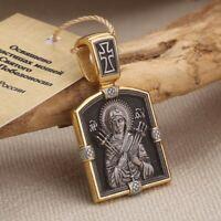 Mutter Gottes & St. Nikolaus Orthodoxe Ikone Anhaenger Silber 925 vergoldet