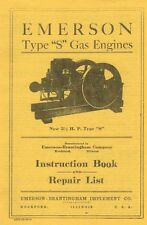 Emerson Type S Gas Engine Motor Instruction Book 2 1/2 hp Manual Flywheel