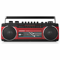 SYLVANIA Bluetooth Cassette Radio Boombox Portable Speaker  - Red