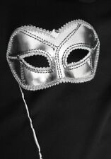 MASQUERADE HALLOWEEN UNISEX SILVER BRAIDED HALF MASK HELD WITH A  SILVER STICK