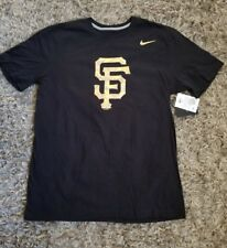 Nike da uomo San Francisco Giants MLB LUMINOSO Lites T-SHIRT L NERO ORO coi NEW
