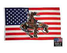 *Usa Made 3x5 End Of The Trail Us Horse SuperPoly Indian American Flag Banner