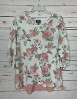 Bobeau Dillards Women's L Large Pink Floral 3/4 Sleeves Cute Spring Top Blouse