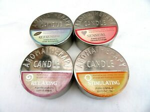 SET OF FOUR AROMATHERAPY SCENTED TIN CNADLES - RELAXING - SENSUAL - REFRESHING
