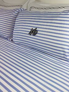 Blue Monogrammed Bedding Set Personalised Bed Linen Stripped Blue Candy Stripe
