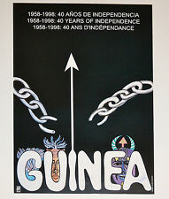 1998 Cuban Political Poster.Anti-Colonialism Racism.GUINEA.Africa.Tribal.SIGNED!