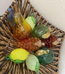 Vintage Hand Blown Glass Fruit 8 Venetian Glass Fruit Gold Flecks Grape Apple