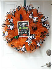 Wicked Witch Halloween Deco Mesh Holiday Door Wreath {Handmade}