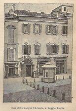 A9327 Reggio Emilia - Casa nativa Ariosto - Xilografia Antica 1906 - Engraving
