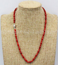 New Natural 4mm &5x9mm Red Coral Round Rice beads Gemstone Necklaces 14-36'' AAA