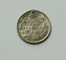 1910 CANADA Edward VII Tiny Silver Coin - 5 Cents - toned-lustre - holed
