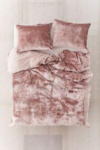 Crushed Velvet Rose Pink Queen King Super Quilt Doona Duvet Cover Set UO Bedding