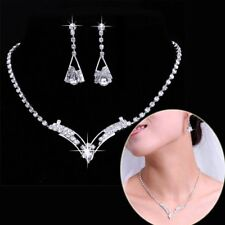 Fashion Womens Bride Wedding 18K Silver Crystal Necklace Earrings Set Jewellery
