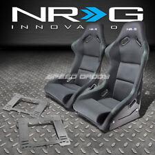 NRG FIBERGLASS BUCKET RACING SEATS+STAINLESS STEEL BRACKET FOR MK3 VW GOLF/GTI