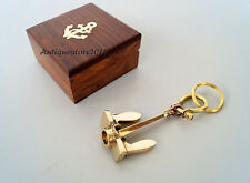 Nautical Brass Anchor Keyring Maritime Key Chain With Wooden Box Christmas Gift.
