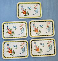 5 Mid Century Metal Floral Bird Heart Bouquet TV Trays 50s 60s Retro Spring 9x13