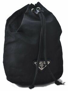 Authentic PRADA Nylon Pouch Black D4282