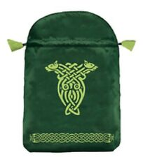 * Green Celtic Dragon Embroidered Satin Bag Large Tarot Bag Wiccan Pagan Witch