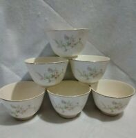 Six French Saxon China Floral Custard/Fruit Cups Vintage