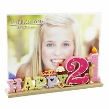 "21st Birthday  Gift  - Resin ""Happy 21"" Photo Picture Frame (6""X 4"") -"