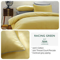 Racing Green - 100% Cotton 200TC -  Ochre Yellow Duvet Set with Contrast Piping